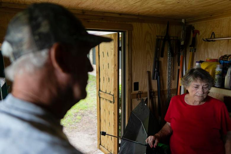 From left, Ronnie McKee, 75, and his wife Nancy McKee, 74, at their home in Lee County on July 12, 2021. The McKees are two of many Lee County residents whose water sources have dried up as a result of Vista Ridge Pipeline Project.