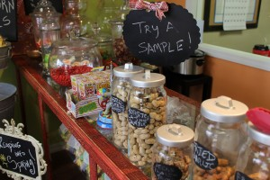 Candy jars on the counter of Oak Alley Farms.