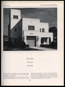 An image of the PWA Fire Station built in Shreveport in 1935