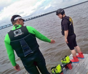 A photo of flyboarding instruction