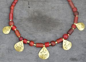 20K Gold Caribou Amulets combined with Hudson's Bay Trade Beads