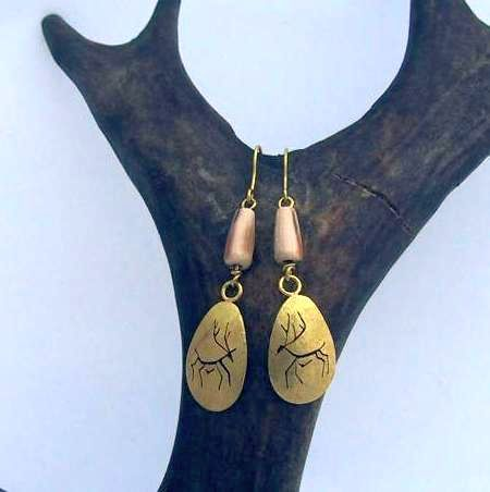 Caribou earrings with mammoth ivory beads