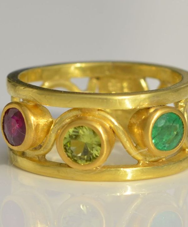 3 children's birthstones ring