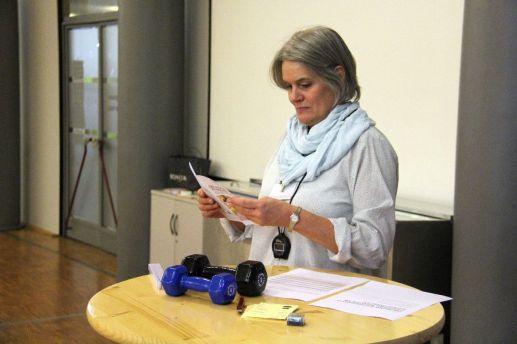 Anke Borhoff (LSB NRW) bei der Vorbereitung