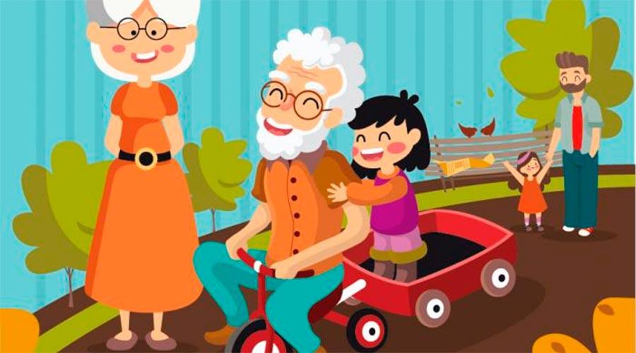 Imatge dibuixada d'un padrí jugant amb un nen