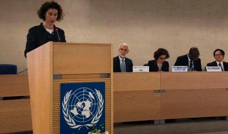 Ubach durant la intervenció al Consell de Drets Humans de l'ONU