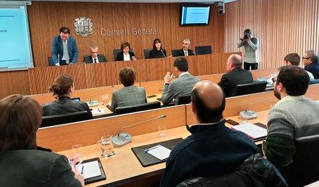 La ministra Verònica Canals durant la compareixença a la comissió legislativa d'economia