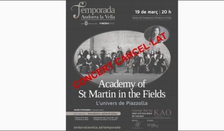 Cartell cancel·lant l'actuació de l'Academy St Martin in the Fields
