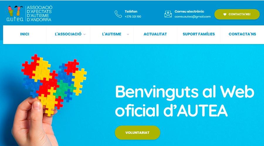 Imatge de la pàgina d'inici del web d'Autea