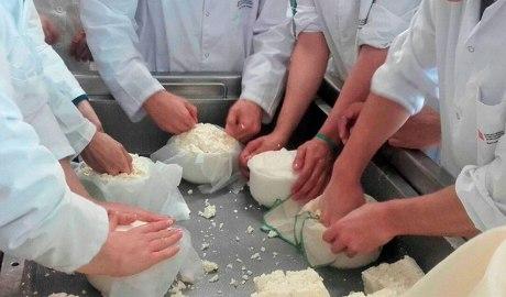 Alumnes de l'Escola Agrària del Pallars fent formatge