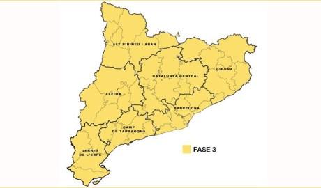 Mapa de la proposta de fases a Catalunya