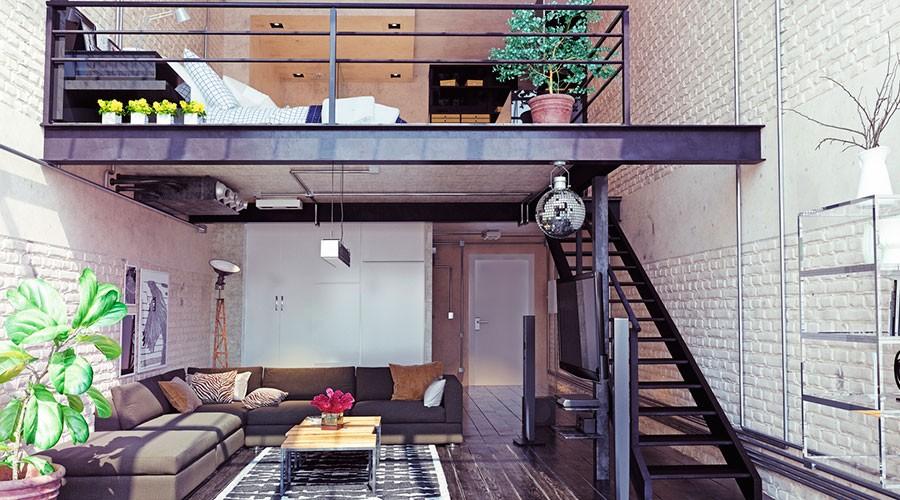 Sala d'estar i dormitori d'estil industrial