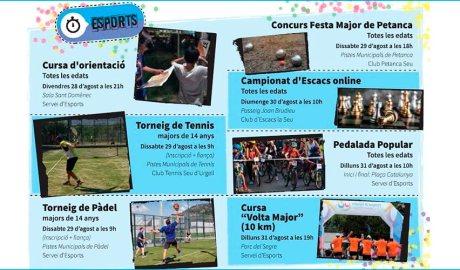 Cartell de les activitats esportives de la Festa Major de la Seu d'Urgell