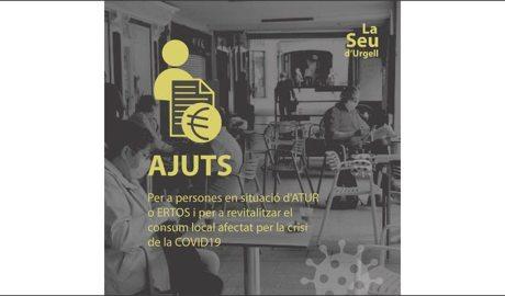 Cartell anunciant els ajuts per a les persones en situació d'atur o ERTO a causa de la Covid-19