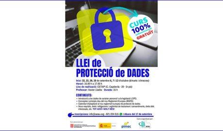 Cartell informatiu del curs sobre protecció de dades que organitza l'AEAU