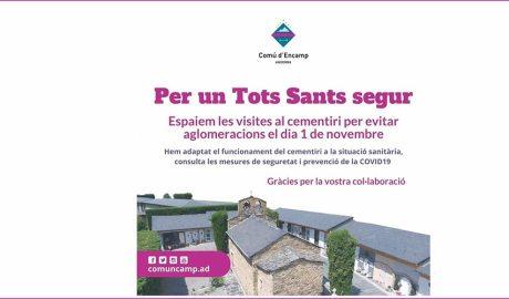 Cartell del Comú d'Encamp que demana espaiar les visites al cementiri per Tots Sants
