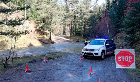 Control dels Mossos d'Esquadra en un camí del PN de l'Alt Pirineu
