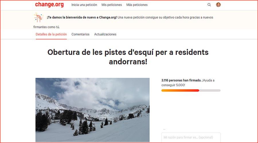 Recull de signatures a Change.org per a que obrin les pistes d'esquí