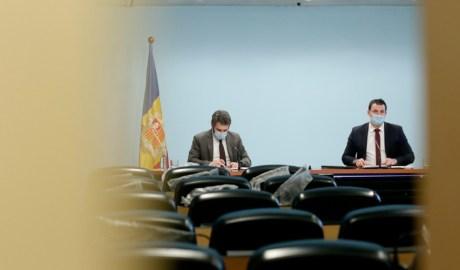 Els ministres de Presidència, Economia i Empresa, Jordi Gallardo, i el Portaveu, Èric Jover.