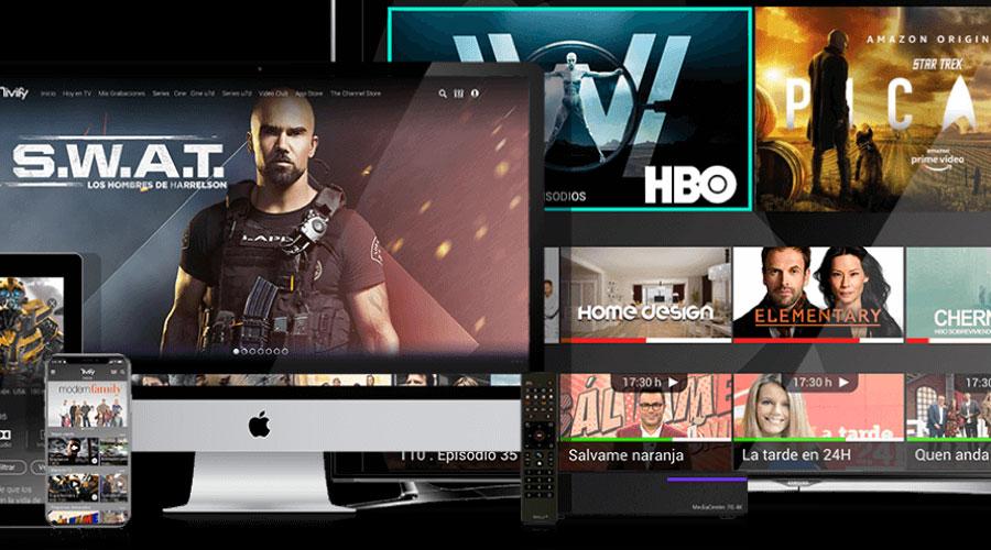 Pantalles diverses amb plataformes de contingut audiovisual