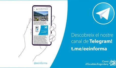 Publicitat del canal de telegram del comú d'Escaldes-Engordany