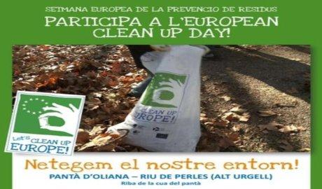 Publicitat de l'acció de neteja al pantà d'Oliana