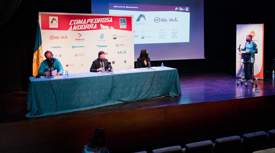 Ferrari, Espot, Molné i Marticella presentant els Campionats del món d'esquí de muntanya 2021