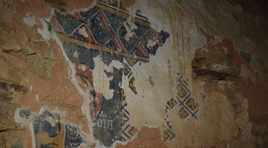 Fragment de les pintures murals del segle XII a l'església de Sant Julià de Solanell.
