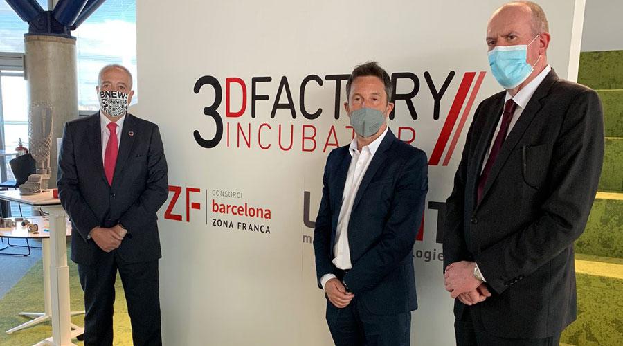 Navarro, López i Miró a les instal·lacions de 3D Factory Incubator, a Barcelona