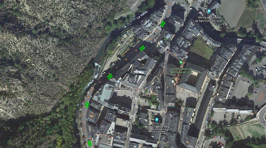 Vista de satèl·lit del dispositiu de circulació a Sant Julià de Lòria