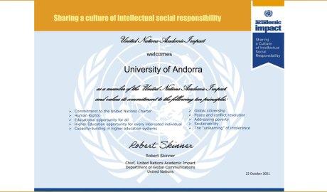 Certificat d'adhesió de l'UdA al programa UNAI