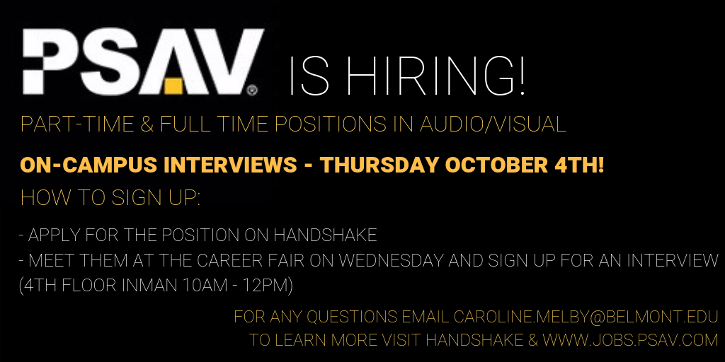 PT & FT Jobs with PSAV – Interviewing this week! – Announcements