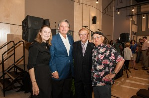Linda Curb, Mike Curb, Harold Bradley and Charlie McCoy celebrate the Columbia Studio A grand re-opening.