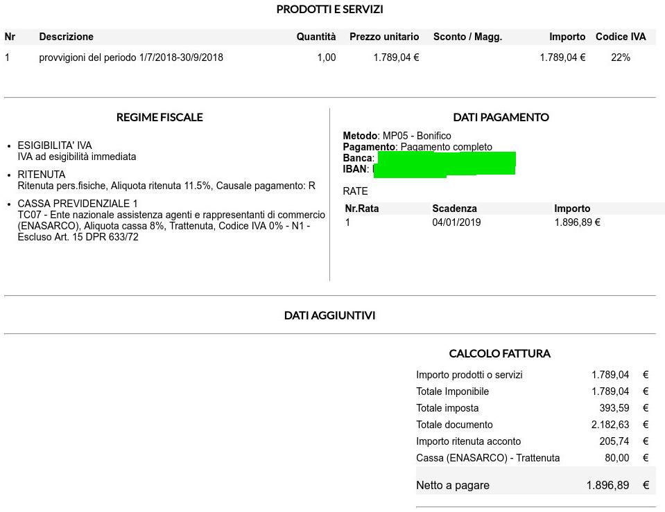 Fatturazione Elettronica Aruba Agente Di Commercio Provv