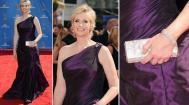 Acostumada a vestir ternos e calças, a atriz Jane Lynch, de Glee, ousou e apareceu no tapete vermelho do Emmy Awards com um vestido de ombro único de Ali Rahimi e clutch Swarovski