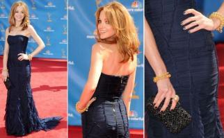 Jayma Mays foi a única a vestir Burberry Prorsum no tapete vermelho do Emmy Awards