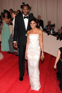 Amar'e Stoudemire, in Calvin Klein Collection, with Rachel Roy, in her own design, with Harry Winston jewels.