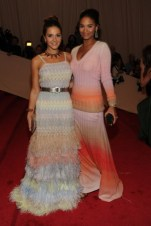 Margherita Missoni, in Missoni, with Eddie Borgo jewels; with Joy Bryant, in Missoni, with an Alexandre Herchcovitch clutch and Jimmy Choo shoes.