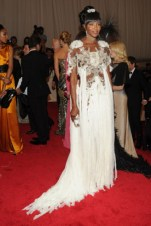 Naomi Campbell, in Alexander McQueen, with Fred Leighton jewels and an Alexander McQueen clutch.