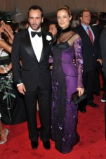 Tom Ford with Carolyn Murphy, in a dress by the designer.