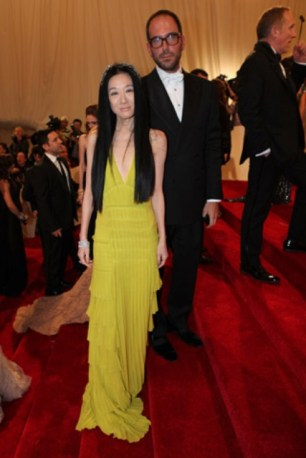 Vera Wang, in her own design, with Mario Grauso.