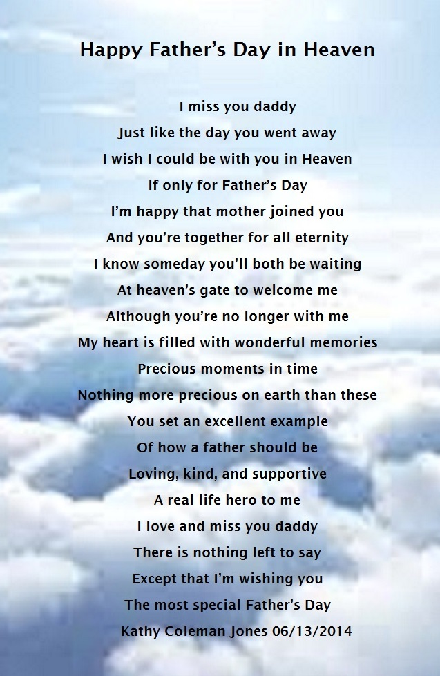 Fathers Day In Heaven Holiday Poems
