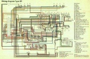911912 Porsche Factory color coded wiring diagrams 1965