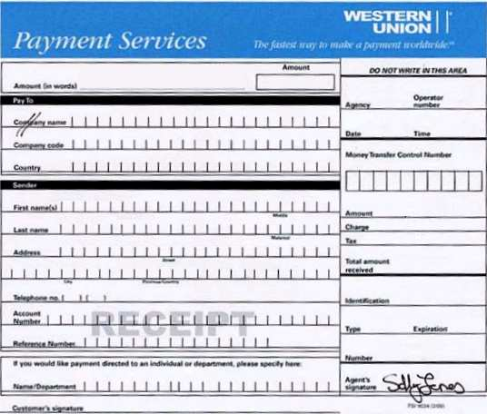 Fake Western Union Receipt Sample