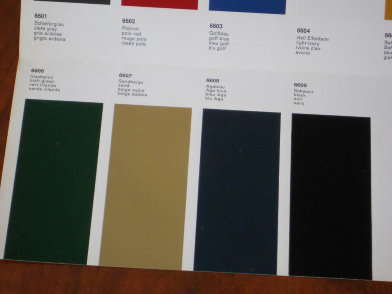 Federal Standard 595 Color Chart