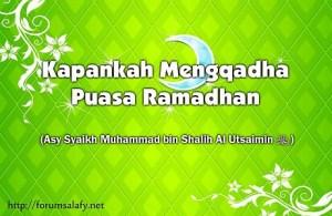 Mengqadha Puasa Ramadhan