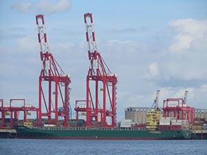 container ship at Liverpool Dock