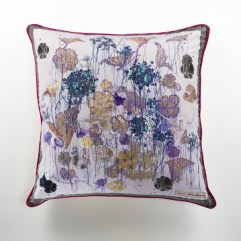 Spontaneous Geraniums in Lilac cushion by Louise Gardiner