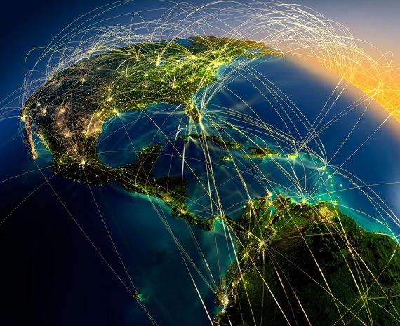 Aprendizaje colaborativo - globo terraqueo visto desde el caribe