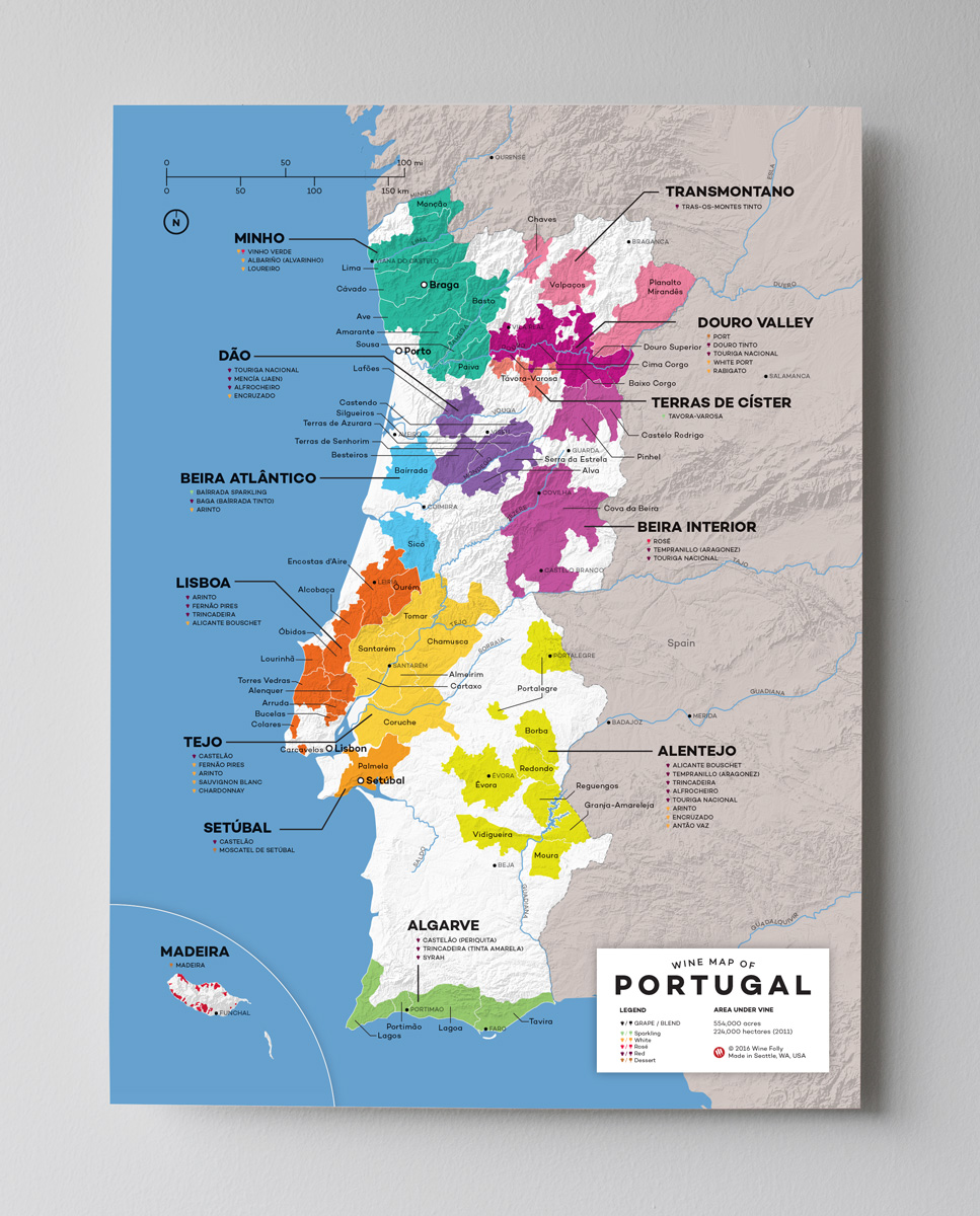 Portugal Wine Map by Wine Folly